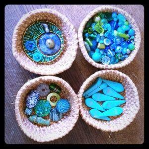 Blue, green & turquoise glass boho lot